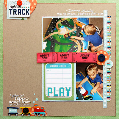 Train Scrapbook Page_Circles_Little Boy_Echo Park