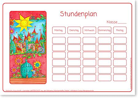Stundenplan – Gartenstadt - Format DIN A4 - für die Grundschule
