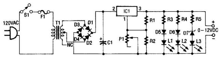 0 to 12v, 1a variable power supply circuit diagram electronicbuild a 0 to 12v, 1a variable power supply circuit diagram