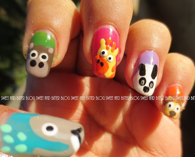 Animals in Zoo for Kids nail art