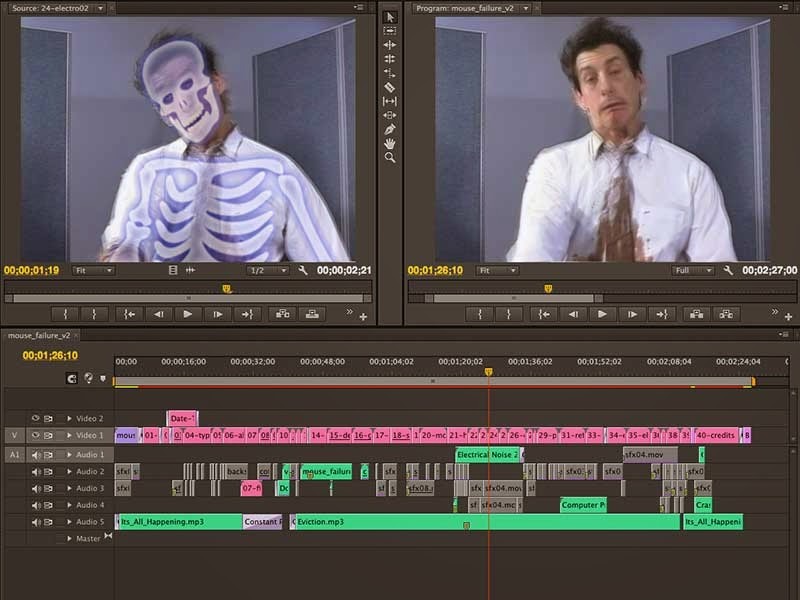 Editing the electrocution scene in Mouse Failure using Adobe After Effects and Premiere Pro.