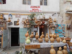 Handicrafts made from dried pumpkin skins.