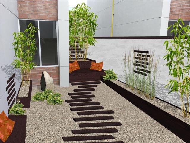 Jardines modernos con macetas v rias - Diseno jardines 3d ...