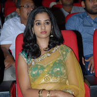 Gorgeous nanditha in yellow transparent designer saree at prema katha chitram audio launch