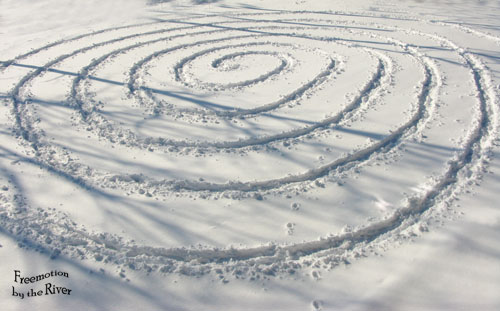 Crop Circle in the snow at Freemotion by the River