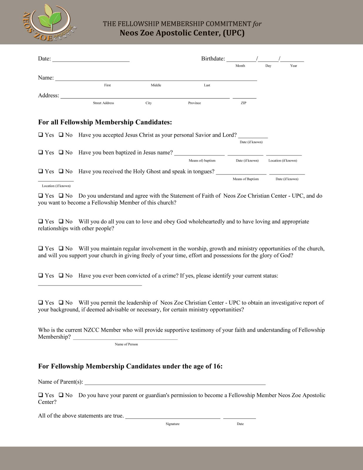Free church membership forms template thecheapjerseys Gallery