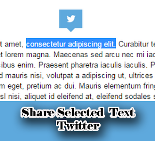 share select text twiter widget blogger