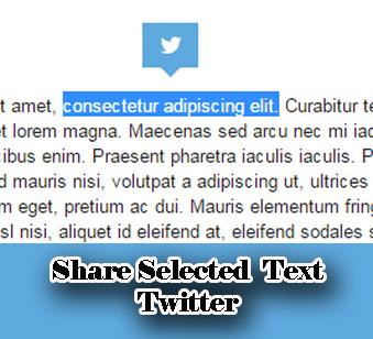 share select text twiter widget blogger