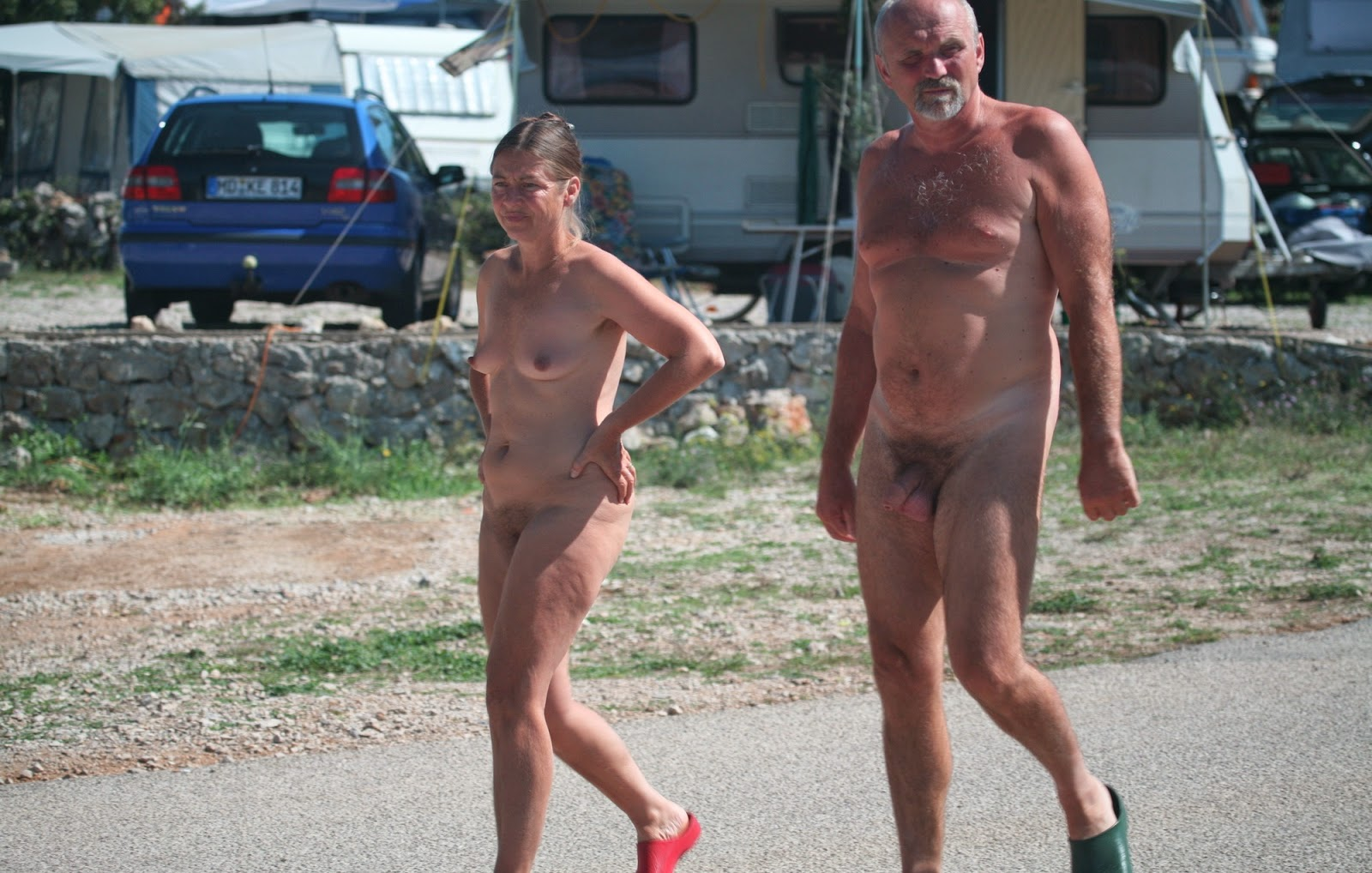 Family camping naked.