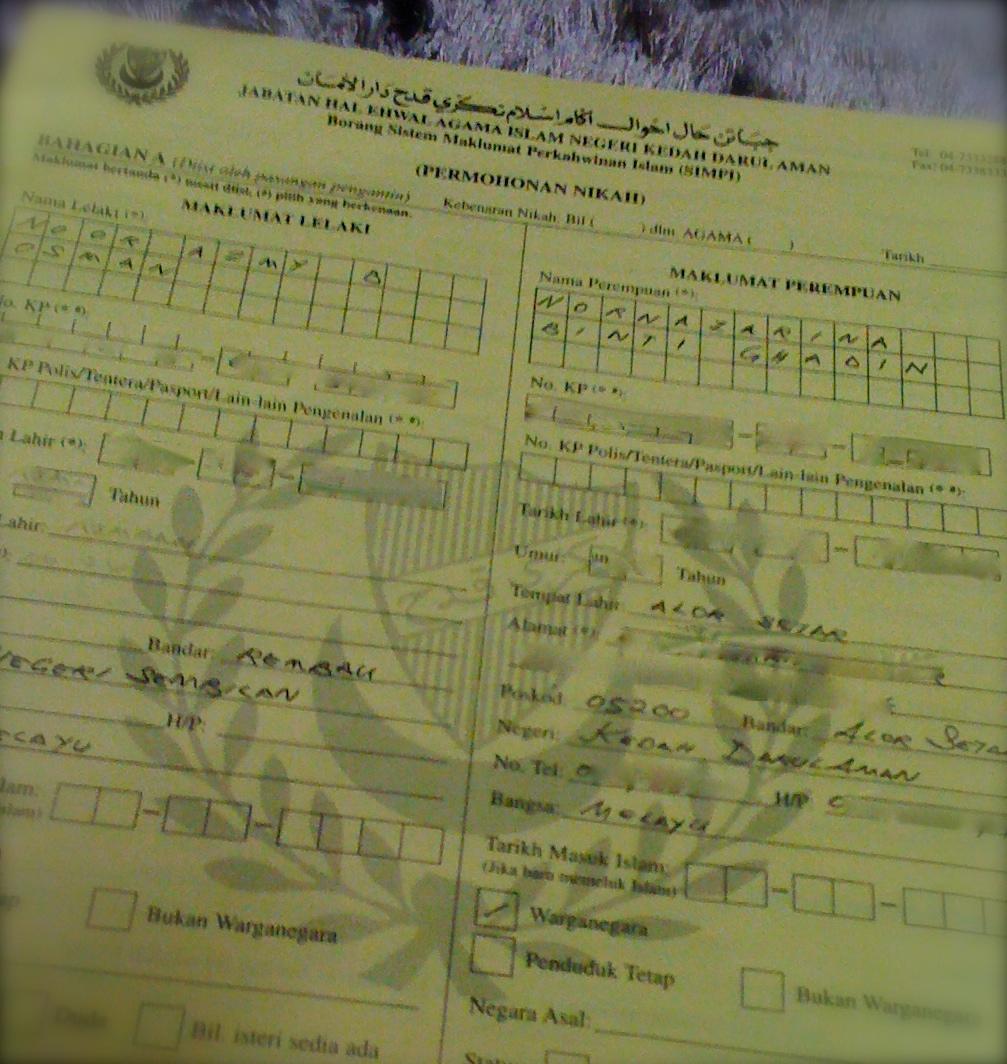 Pink Blue Borang Nikah Senarai Semak