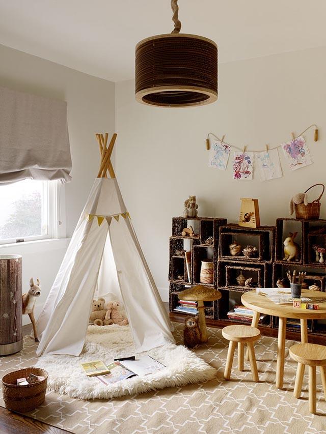 diseño habitacion infantil con tipi y cestos