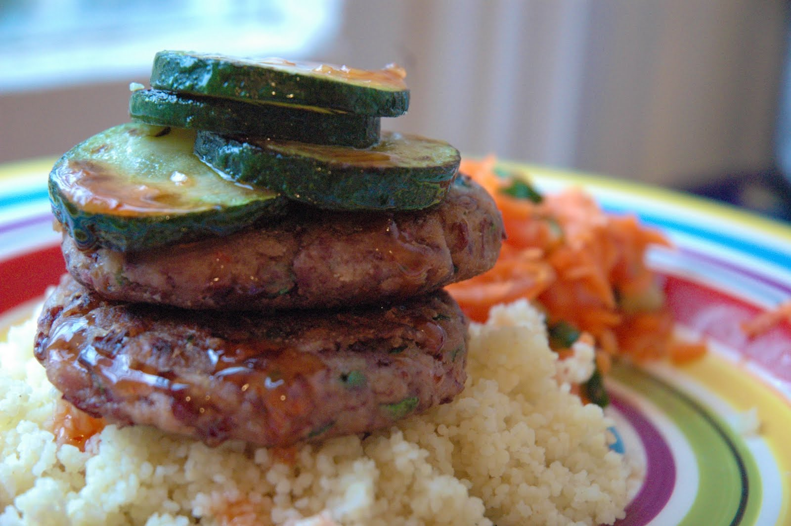 Dinner: Spicy bean patties with couscous, grilled zucchini and carrot ...