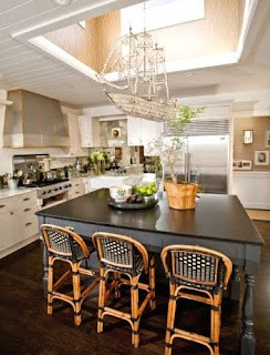 kitchen with ship chandelier