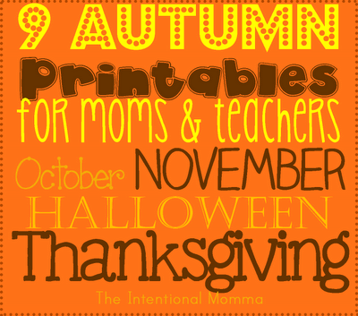 October November Halloween Thanksgiving Pumpkins preschool Kindergarten homeschool free simple