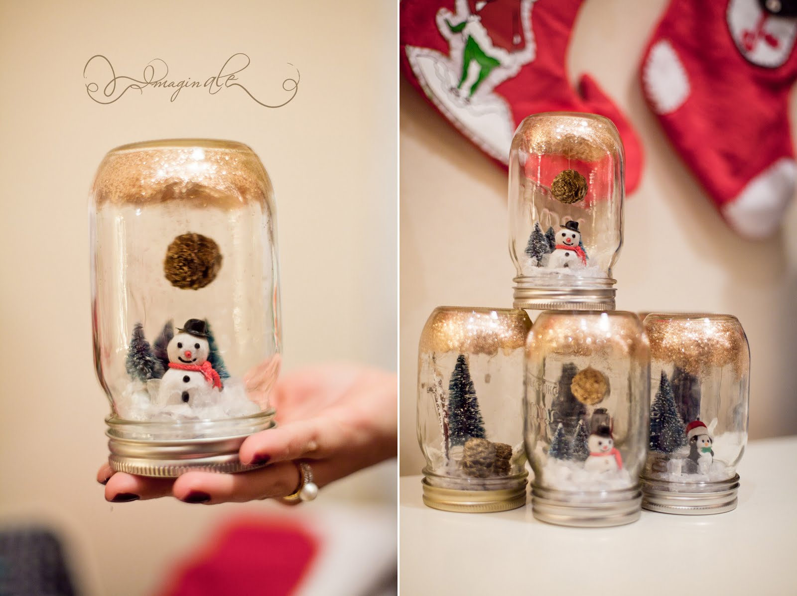 Ale vidal diy anthropologie mason jar snowglobe i yelled many times in the process burning myself 3 times at least i made 9 of these for my party and i think i only put the hanging pine cones on 4 of solutioingenieria Choice Image