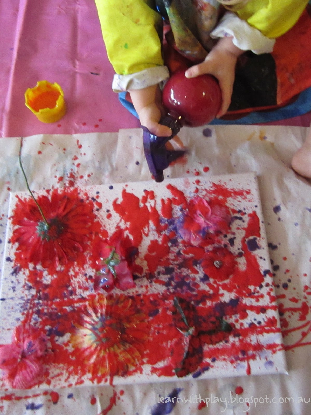 Learn with play at home flower stencil spray painting kids art mightylinksfo