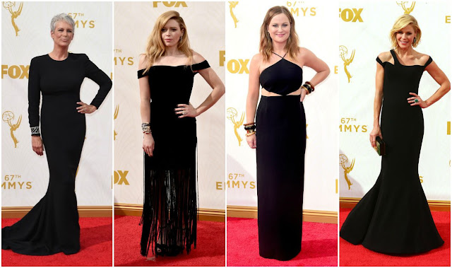 black trend, emmy awards, fashion, jamie lee curtis, natasha lyonne, amy poehler, julie bowen