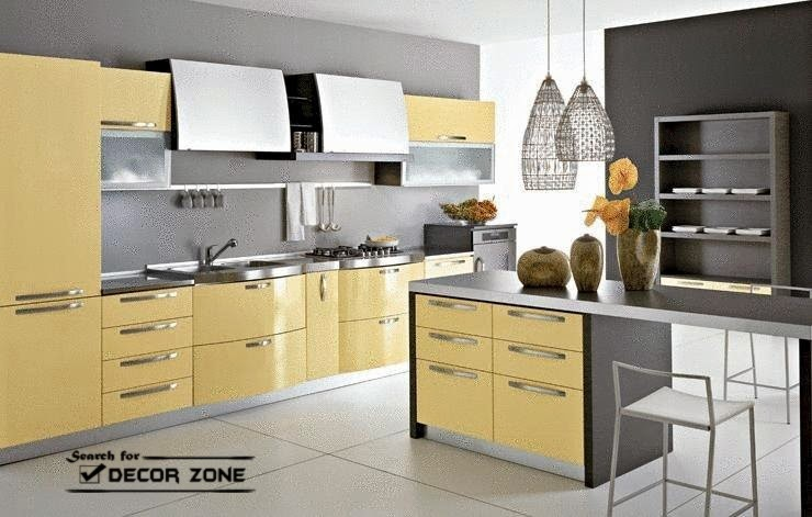Pale Yellow Kitchen Decor In Combination With Gray