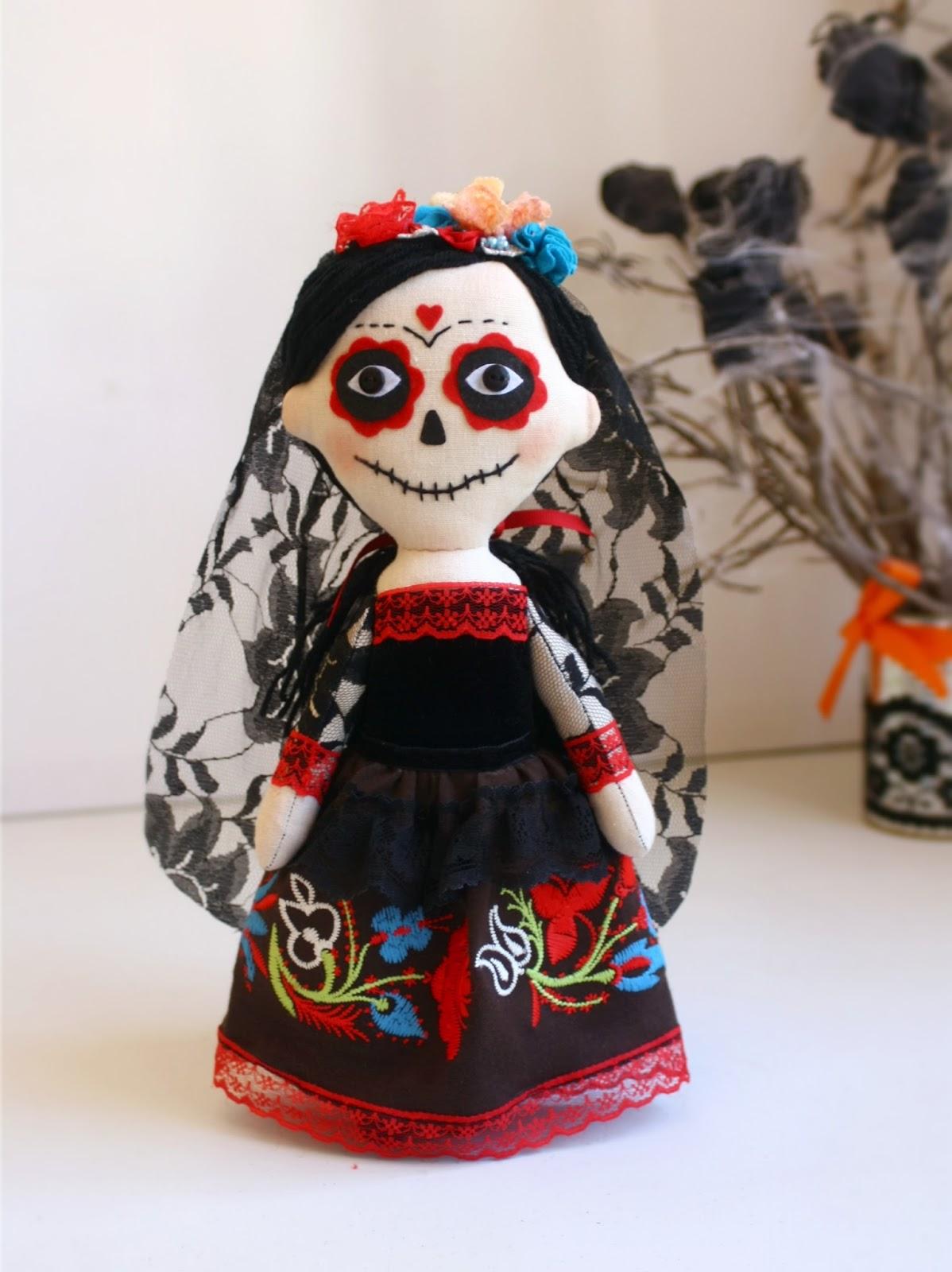 Muñeca artística La Catrina mexicana, día de los muertos, halloween.