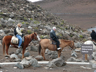 Horse trail ride into the crater
