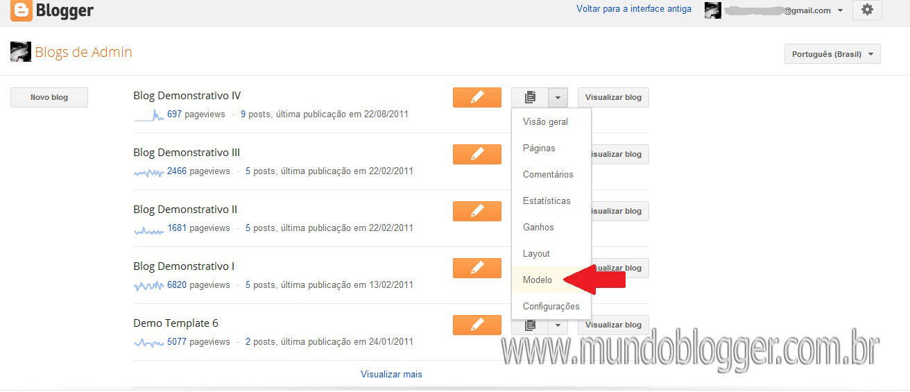 fazer backup do Template na nova interface do Blogger