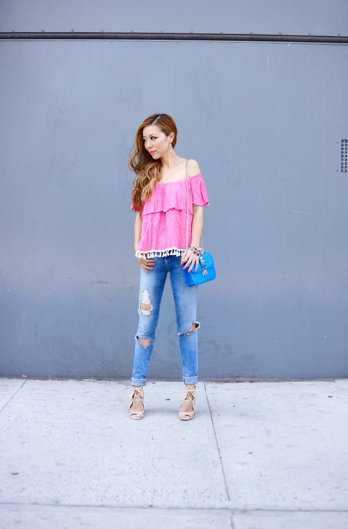 tbag los angeles ruffle off the shoulder top, hot pink off shoulder top, blank denim distressed skinny boyfriend jeans, valentino lock back, jeffrey campbell Rodillo-Hi Wedge Sandal, kendra scott earrings, kendra scott, mystic bazaar, wanderlust and co infinity ring, gorjana necklace, rocksbox, desinger jewelry, shashi new york, fashion blog, street style