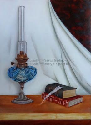 tableau huile, savoir, livres, lampe à huile, plume