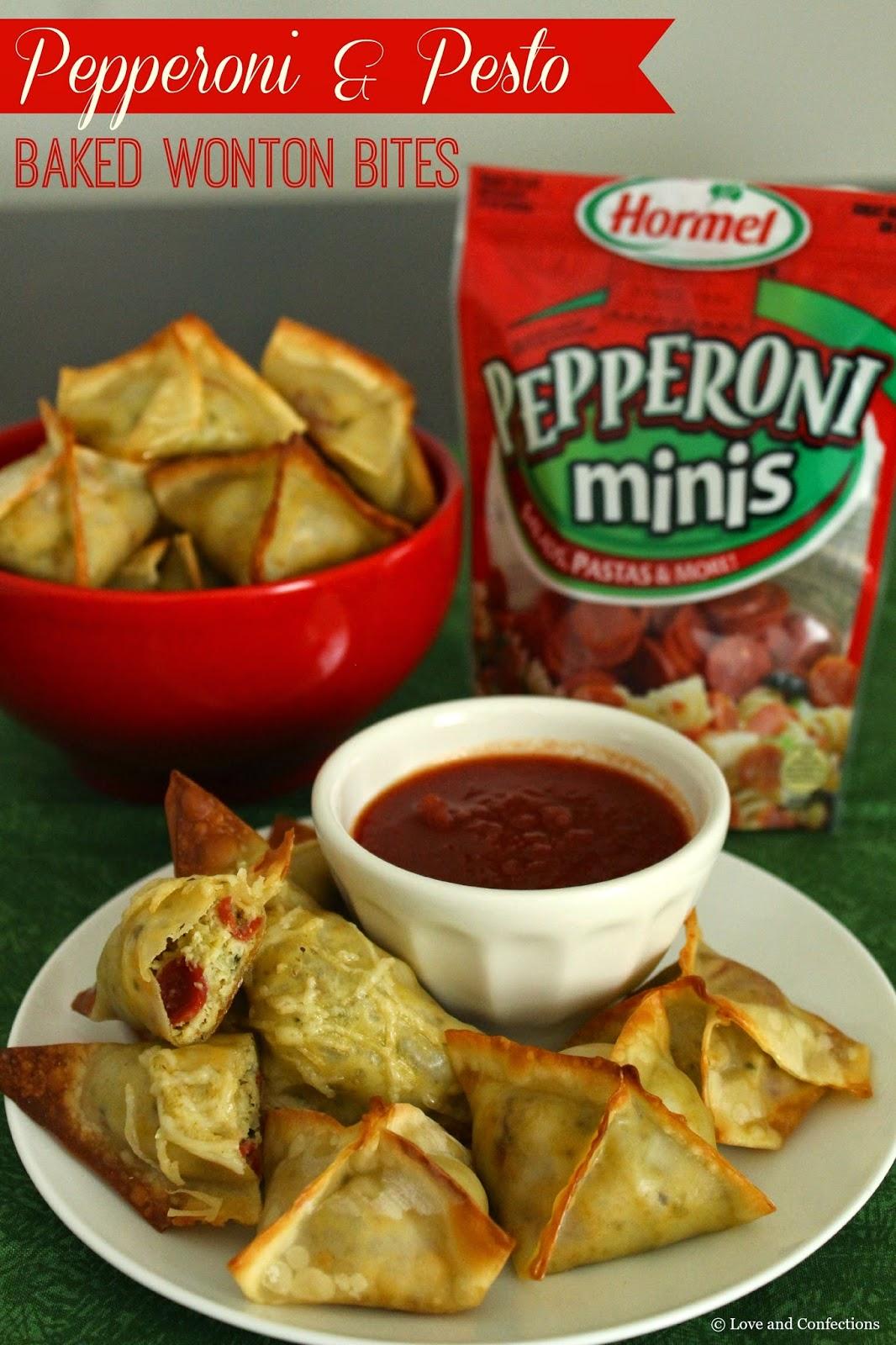 Pepperoni & Pesto Baked Wonton Bites from LoveandConfections.com
