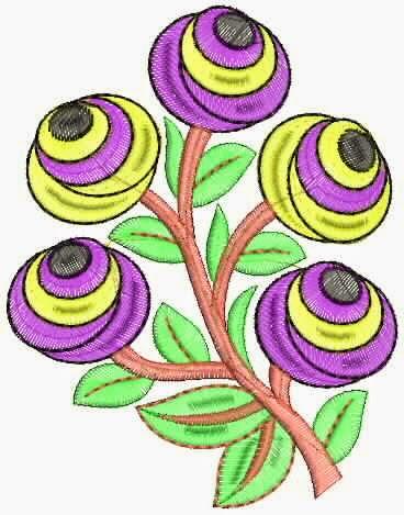 kleurvolle blomme cutwork appliekwerk