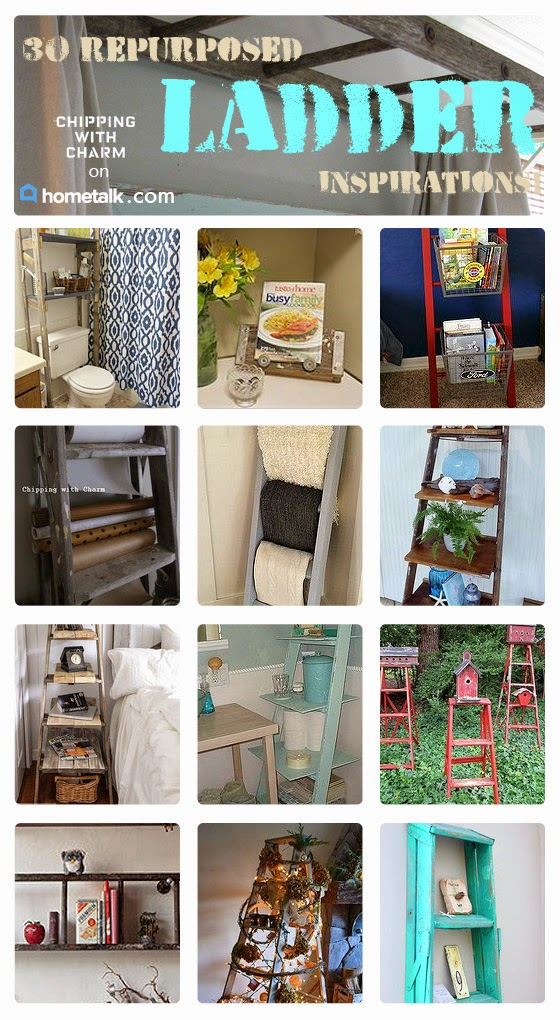 Chipping with Charm: Ladder Love on Hometalk...http://www.chippingwithcharm.blogspot.com/