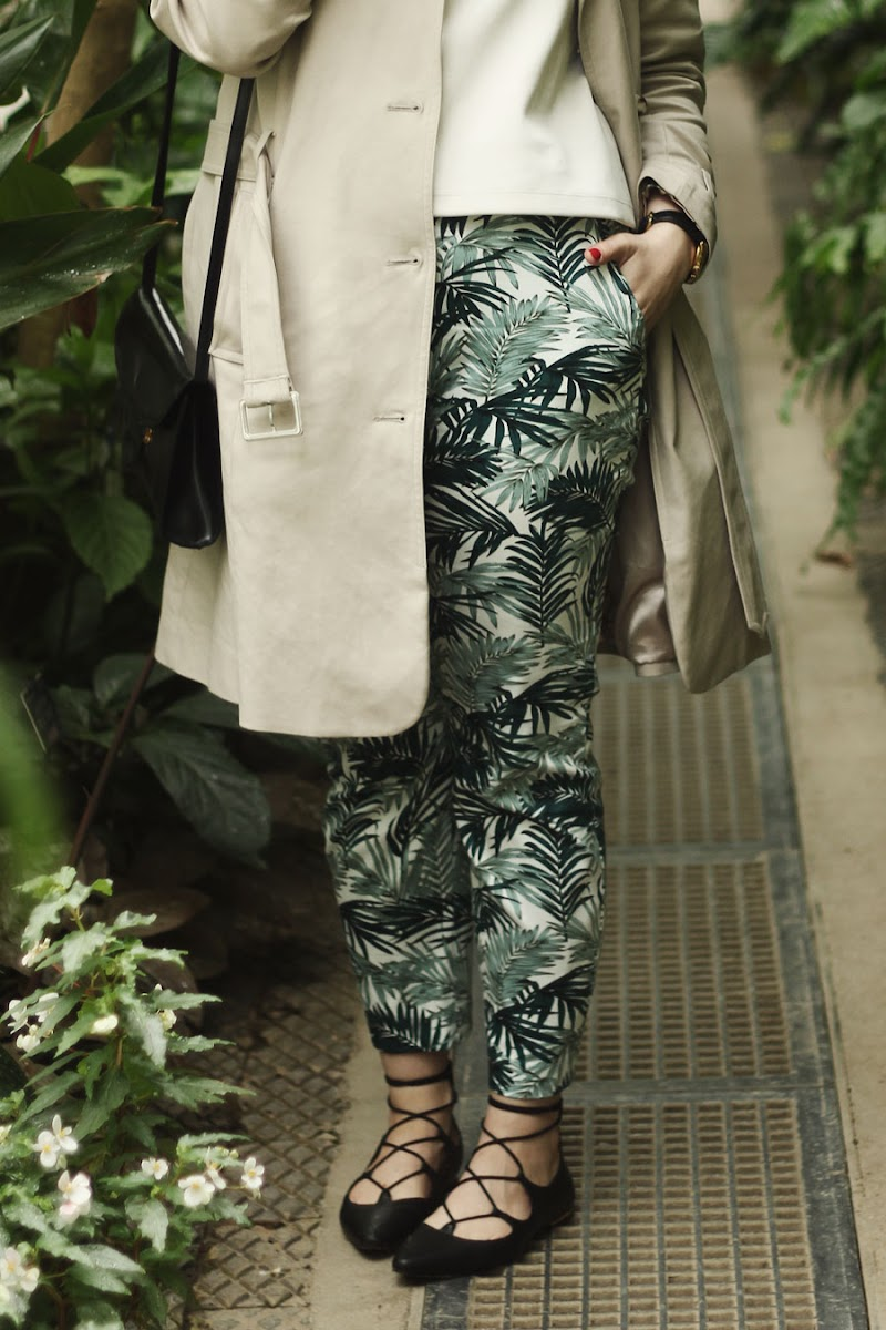 hm palm print trousers