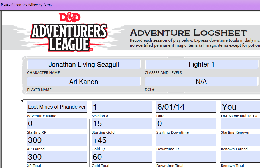 As Iu0027m Thinking Through The Logistics Of Running Adventureru0027s League Games  Online, I Realized Players Are Going To Need A Form Fillable PDF Of The  Adventure ...