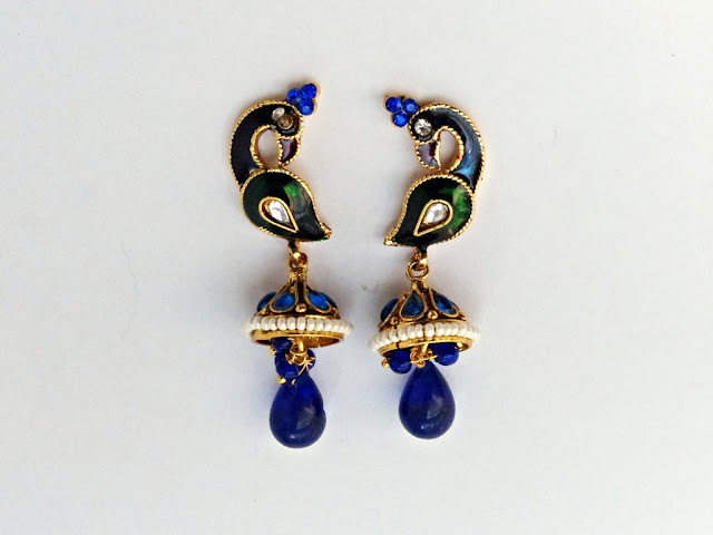 Indian ethnic style peacock earrings
