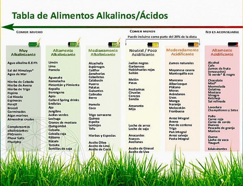 Vida sana belleza y salud acido alcalino vol 1 - Tabla de alimentos alcalinos y acidos ...