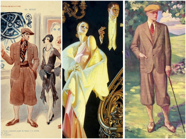 從左至右:20年代的短卷髮女孩與男性;Arrow襯衫廣告;高爾夫球套裝