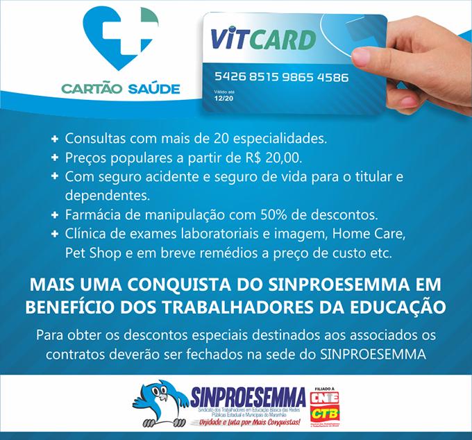 SINPROESEMMA APRESENTA O CARTÃO SAÚDE VITCARD