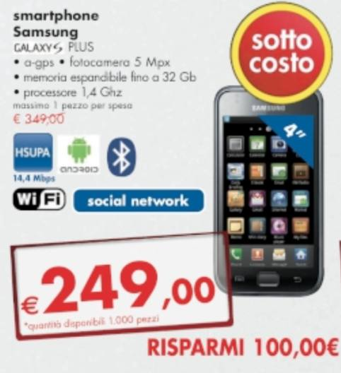Samsung Galaxy S plus smartphone android a 249 euro