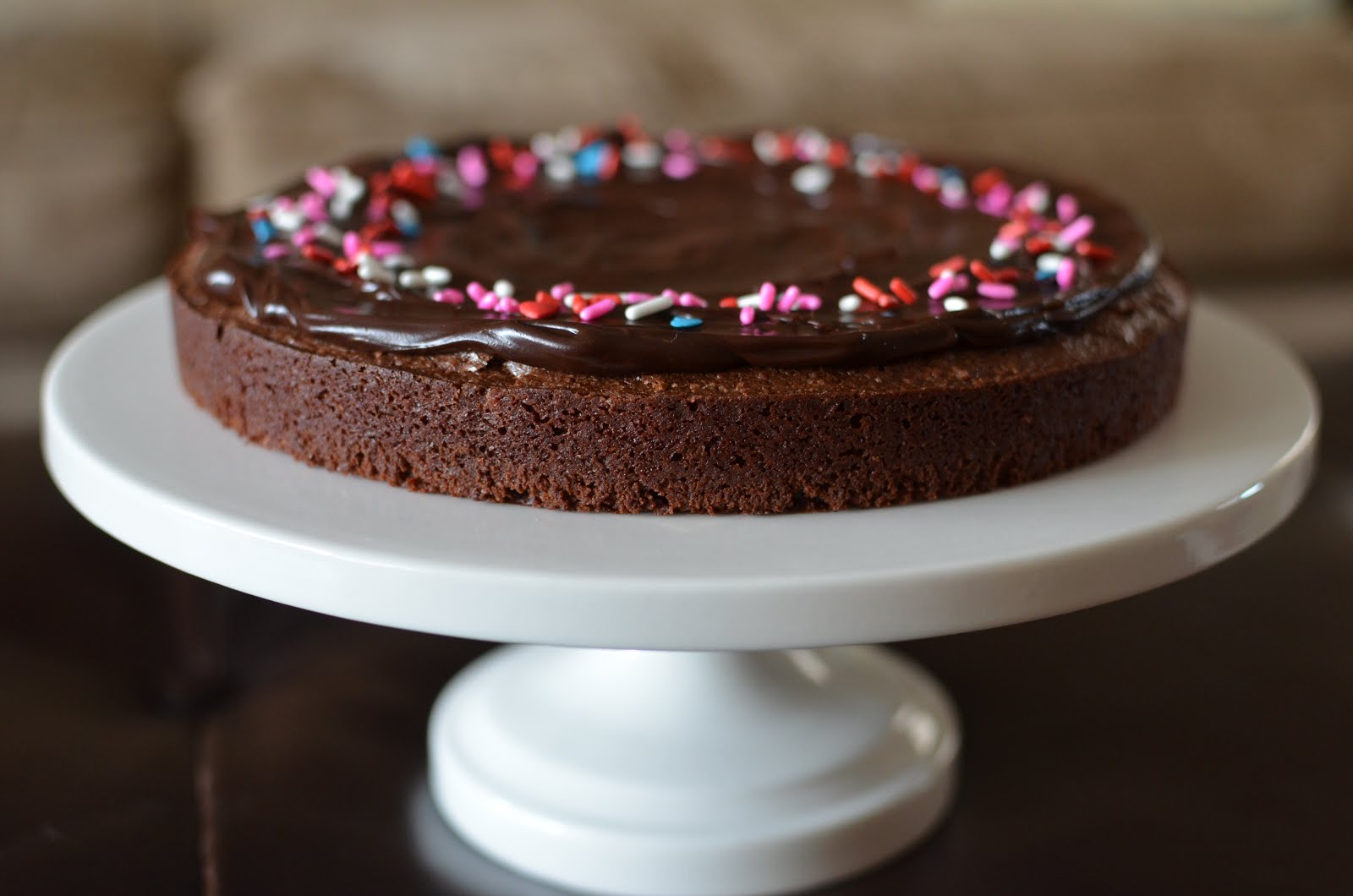 Playing With Flour Brownie Cake With Ganache Frosting