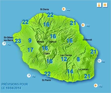 Prévisions météo Réunion pour le Vendredi 18/04/14