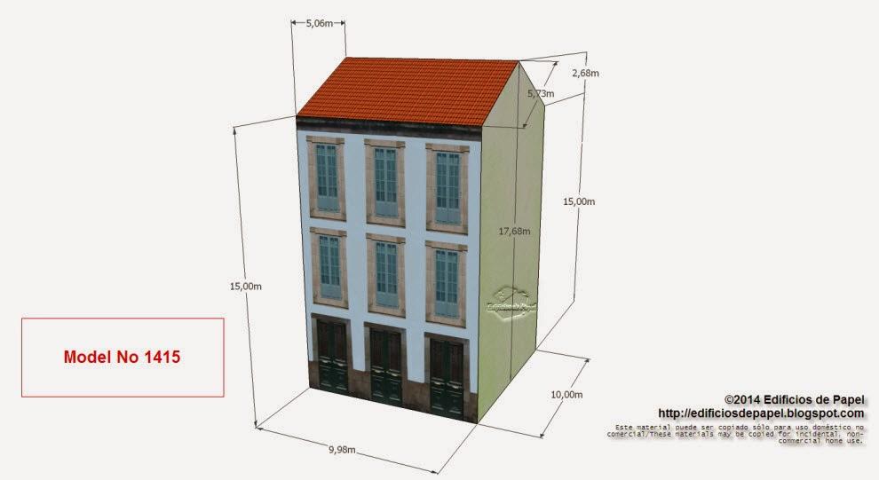 """Edificios de Papel - Modelo 1415 - Casona Urbana Gallega L. Serie """"Ourense"""" - """"Ourense"""" series"""