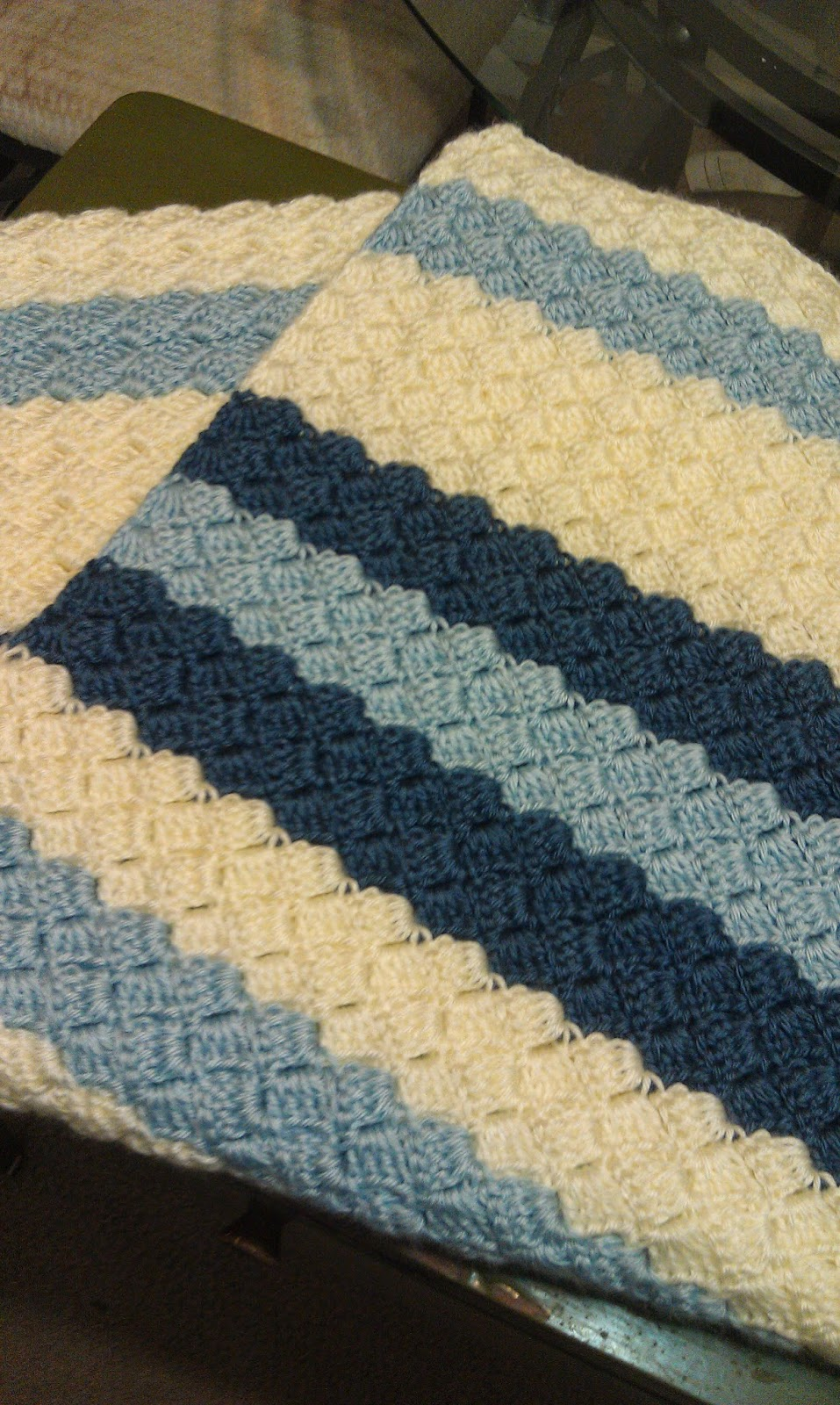Blue Crochet Baby Blanket Folded