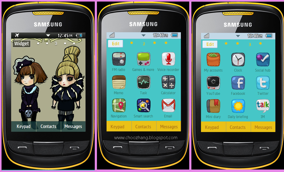 Samsung Corby 2 - 2ne1 Chibi Theme Download for Free