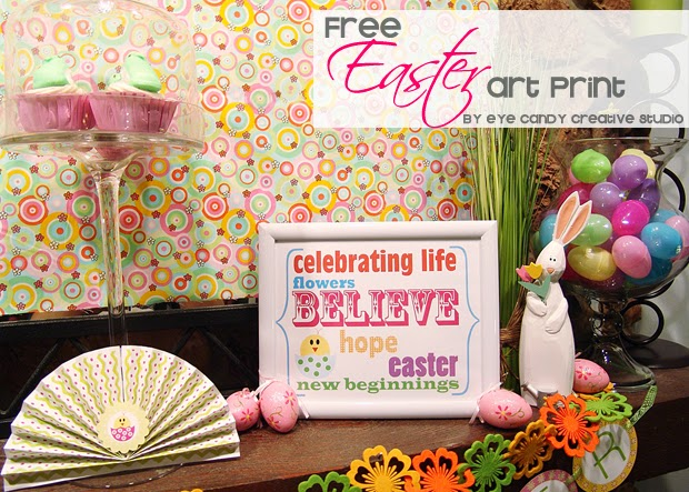 free easter art print, easter decorating ideas, mantle decor, easter decor, easter eggs, easter bunny, easter banner
