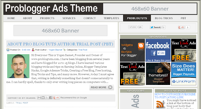 Problogger Ads Theme Blogger Template