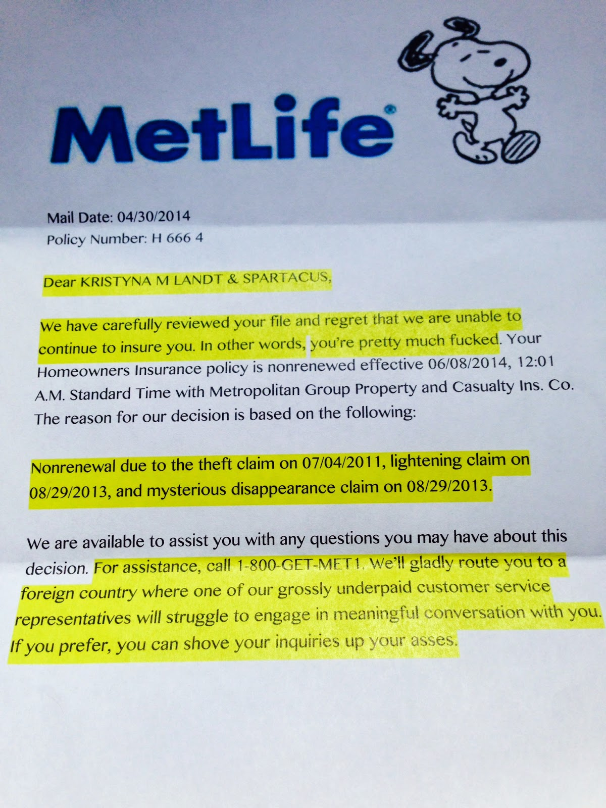 Metlife Property Insurance Customer Service