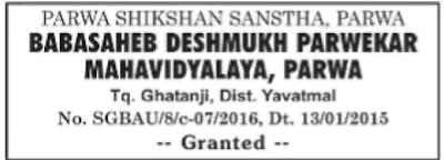 Babasaheb Deshmukh Parwekar School Recruitment 2016 sgbau.ac.in