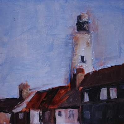 oil sketch of Southwold lighthouse by Tim Irving