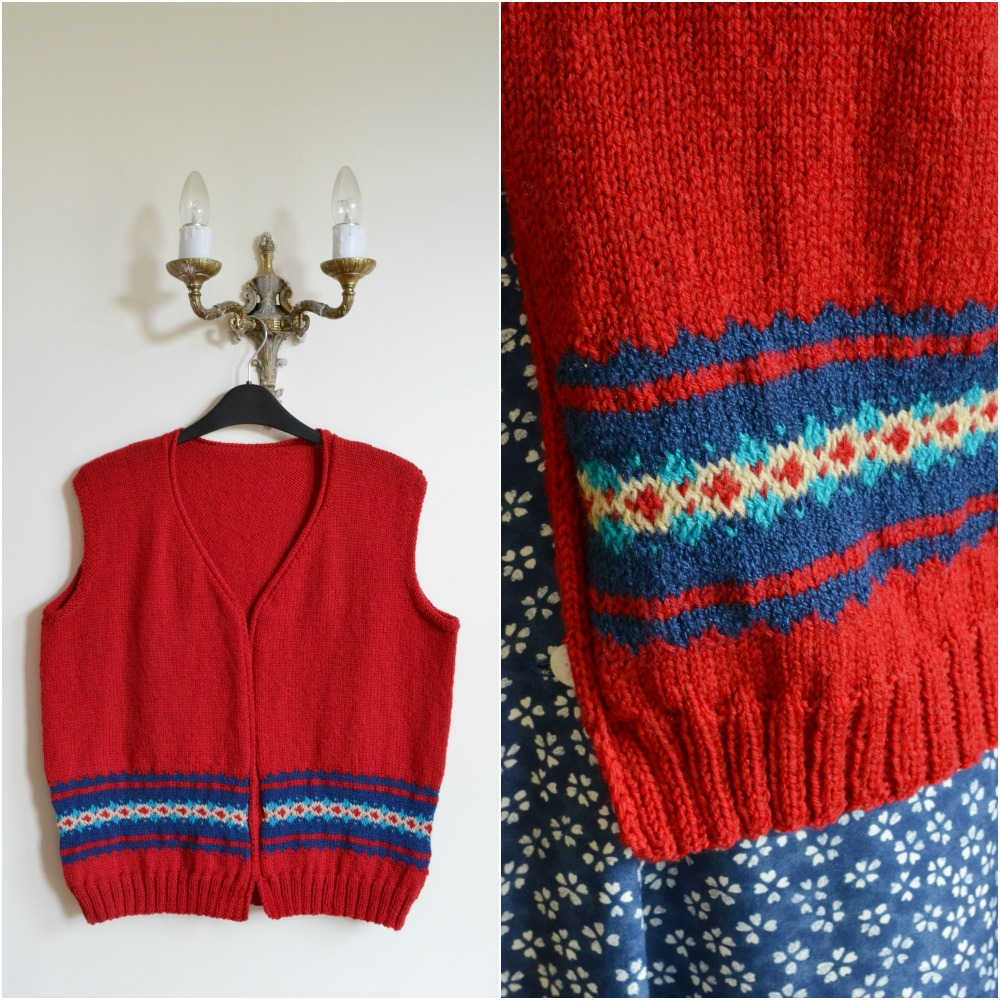 vintage knitted waistcoat 1940s red fair isle