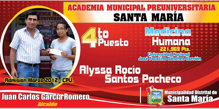 Alumna de la Academia Municipal Preuniversitaria de Santa María ingresó a Medicina Humana 4to lugar