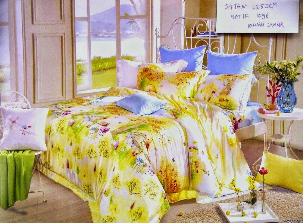 Sprei Kuning Motif Rumah Jamur